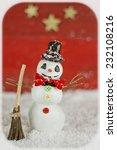 snowman on red background with... | Shutterstock . vector #232108216