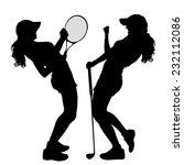 vector silhouette of the women... | Shutterstock .eps vector #232112086
