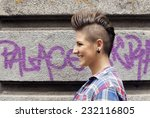 young girl with urban punk rock ... | Shutterstock . vector #232116805