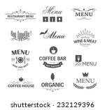 vintage set of restaurant signs ... | Shutterstock .eps vector #232129396