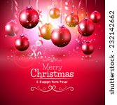 luxury red christmas greeting... | Shutterstock .eps vector #232142662