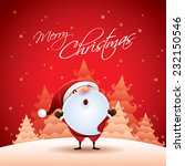 santa claus in christmas snow... | Shutterstock .eps vector #232150546