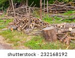 Logs Of Wood Stacked And Ready...