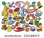 set of vintage toys.  vector... | Shutterstock .eps vector #232188472