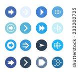 blue arrow sign icon set....