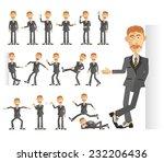 businessman in dark suit in... | Shutterstock .eps vector #232206436