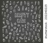 doodle cosmetics and self care...   Shutterstock .eps vector #232240225
