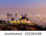 The Griffith Observatory and Los Angeles city skyline at twilight
