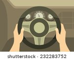 human hands drive a car behind the wheel kept visible dashboard panel - stock vector