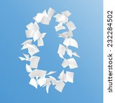 number zero composed by papers... | Shutterstock . vector #232284502