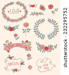 set of floral romantic doodle... | Shutterstock .eps vector #232295752