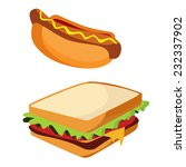 junk food hotdog and sandwich... | Shutterstock .eps vector #232337902
