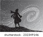 girl in the snowfall looking at ... | Shutterstock .eps vector #232349146