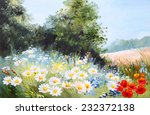 Oil Painting Landscape   Meadow ...