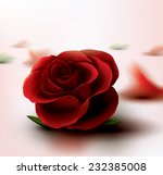 Stock vector vector render close up of red rose with petals scattered in background 232385008