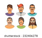 hand drawn cartoon faces crowd... | Shutterstock .eps vector #232406278