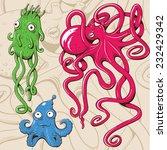 deep sea monsters. vector... | Shutterstock .eps vector #232429342