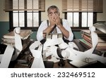 desperate accountant head in... | Shutterstock . vector #232469512