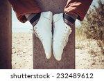 legs modern hipster sitting on...   Shutterstock . vector #232489612