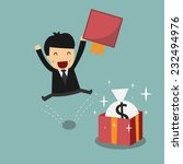 businessman with money in gift... | Shutterstock .eps vector #232494976