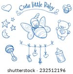 baby shower. cute baby  in... | Shutterstock .eps vector #232512196
