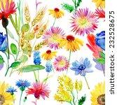watercolor flowers seamless... | Shutterstock . vector #232528675
