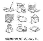 hand drawn computer icons.... | Shutterstock .eps vector #23252941