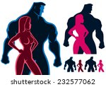 fit couple silhouettes in 4... | Shutterstock .eps vector #232577062