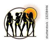 four sexy summer girls in... | Shutterstock .eps vector #23258446
