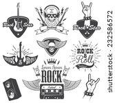 set of rock and roll music... | Shutterstock . vector #232586572