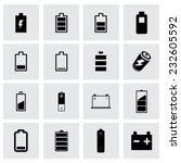 vector batery icon set on grey... | Shutterstock .eps vector #232605592