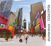 city hand drawn  vector... | Shutterstock .eps vector #232615936