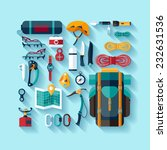 climbing equipment. flat design. | Shutterstock .eps vector #232631536
