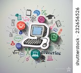 education collage with icons...   Shutterstock .eps vector #232656526