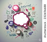 social media collage with icons ... | Shutterstock .eps vector #232656688