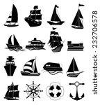 Seatransportation Ship Icons Set