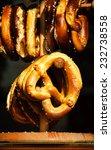 pretzels hanging on wooden... | Shutterstock . vector #232738558