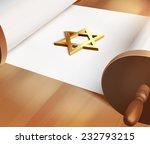 raster david star on blank torah | Shutterstock . vector #232793215
