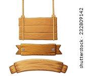 set of light wooden banners.... | Shutterstock .eps vector #232809142