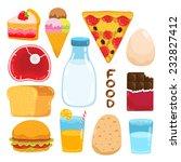 vector cartoon cake  ice cream  ... | Shutterstock .eps vector #232827412
