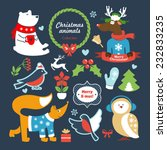 christmas forest animals set | Shutterstock .eps vector #232833235