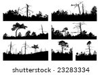vector silhouettes tree on white background - stock vector