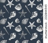 seamless pattern with sea shell  | Shutterstock . vector #232844545