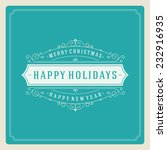 christmas retro typography and...   Shutterstock .eps vector #232916935