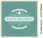 christmas retro typography and... | Shutterstock .eps vector #232918666