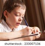 boy doing homework. child... | Shutterstock . vector #233007136