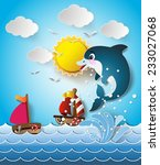 illustration of the dolphins in ... | Shutterstock .eps vector #233027068