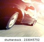 the side view of black car in... | Shutterstock . vector #233045752