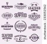 seafood set   typographic label ... | Shutterstock .eps vector #233052562