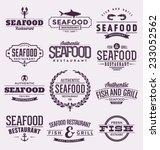 seafood set   typographic label ... | Shutterstock .eps vector #233052562
